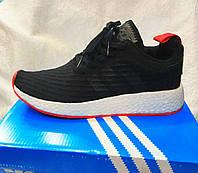 Мужские кроссовки Adidas NMd r2 pk черные с белой подошвой, фото 1