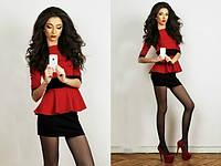 Платье-баска дайвинг красное