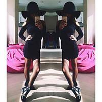 Молодежное платье с вырезом на плече черное, фото 1