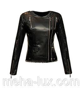 Куртка женская кожаная Sacha Pacha короткая с металлическими кольцами черная