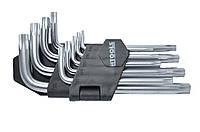Набор Г-образных TORX с отв. ключей 9 шт., Т10-Т50, Cr-V