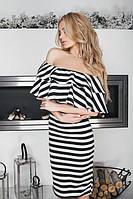 Платье женское короткое в полоску с двойным воланом P8500, фото 1