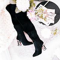 Замшевые сапоги с оригинальным каблуком , фото 1
