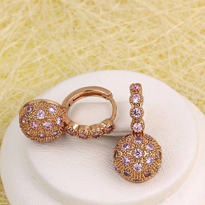 008-4971 - Серьги Шарики с розовыми фианитами розовая позолота