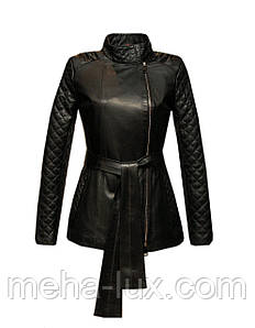 Куртка женская кожаная Vicentini классическая с поясом черная