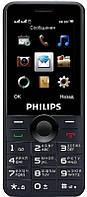 "Philips Мобильный телефон Xenium E168 Dual Sim Black; 2.4"" (320x240) TN / клавиатурный моноблок / 4 МБ встроенной + microSD до 3216 ГБ / камера 0.3 Мп"