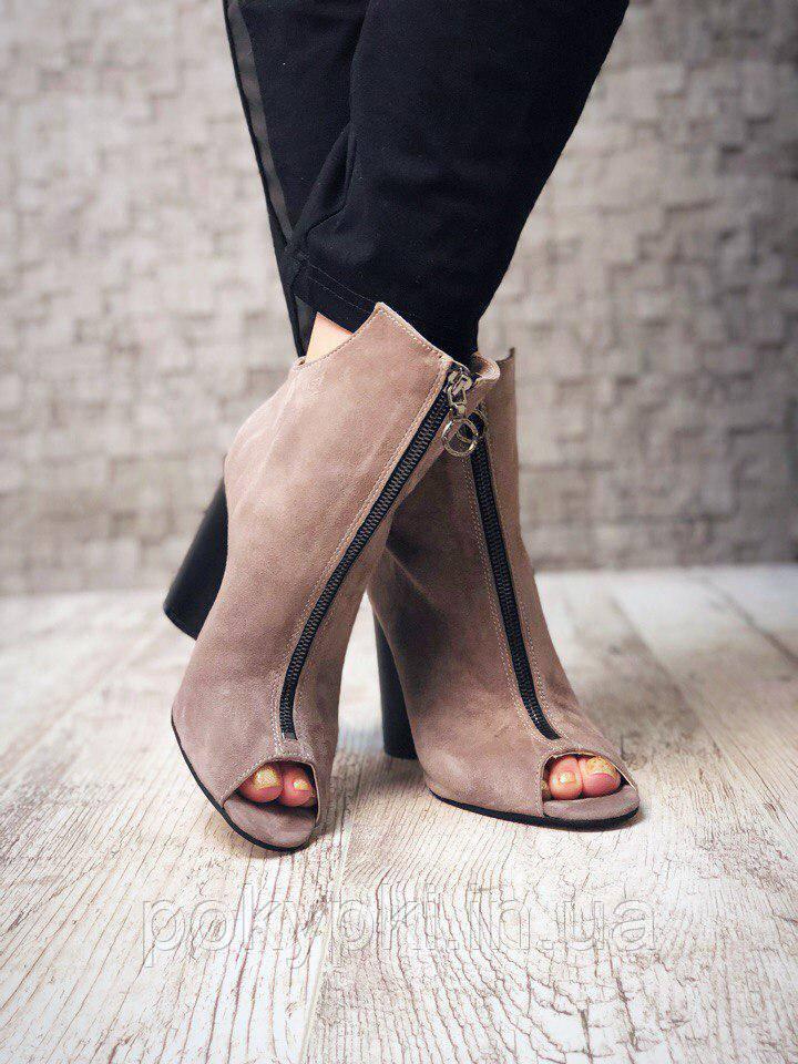 18c8117bd Ботинки с открытым носком натуральная замша на высоком каблуке -