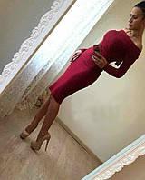 Стильное платье миди цвета марсал, длинный рукав, трикотажное теплое, длинна ниже колен