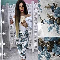 Женский костюм белый топ+цветочная юбка АМС-1803.065
