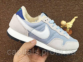 "Женские кроссовки Nike Internationalist ""Light Blue/White"" С МЕХОМ"
