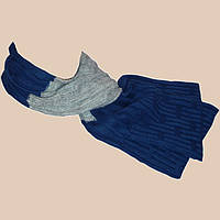 Вязаный шарф-петля василькового-мраморного цвета