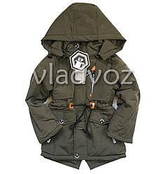 Детская демисезонная куртка на мальчика шнурки хаки 8-9 лет