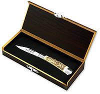 Нож подарочный складной эксклюзив 7017 LJA (BOX) рог горного оленя MHR /01-8