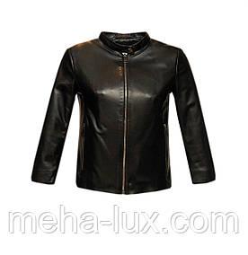 Куртка женская кожаная Vicentini короткая черная с укороченными рукавами