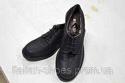 Кожаные чёрного цвета туфли на шнуровке Slash к.1000
