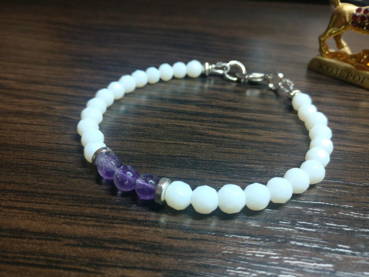 Браслет из белого агата и аметиста, мужской браслет из натурального камня, мужской браслет