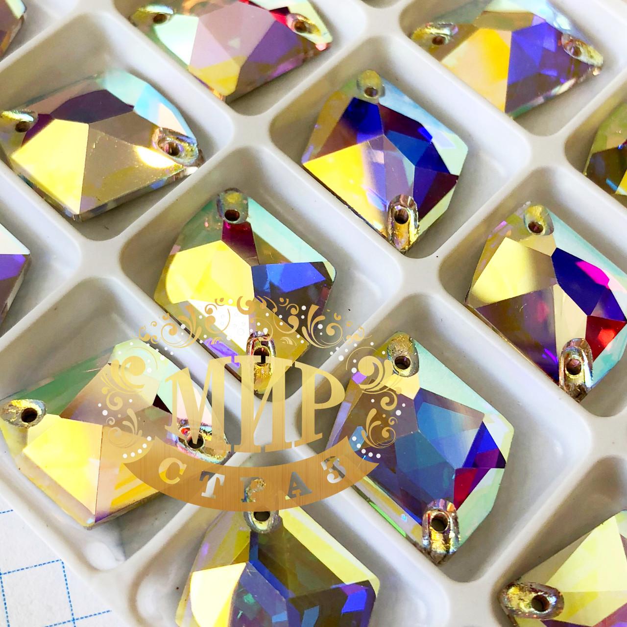 Пришивные стразы Lux,13x17мм форма Космик, цвет Crystal AB