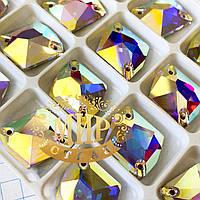 Пришивные стразы Lux, форма Космик, цвет Crystal AB (13x17мм), 1 шт