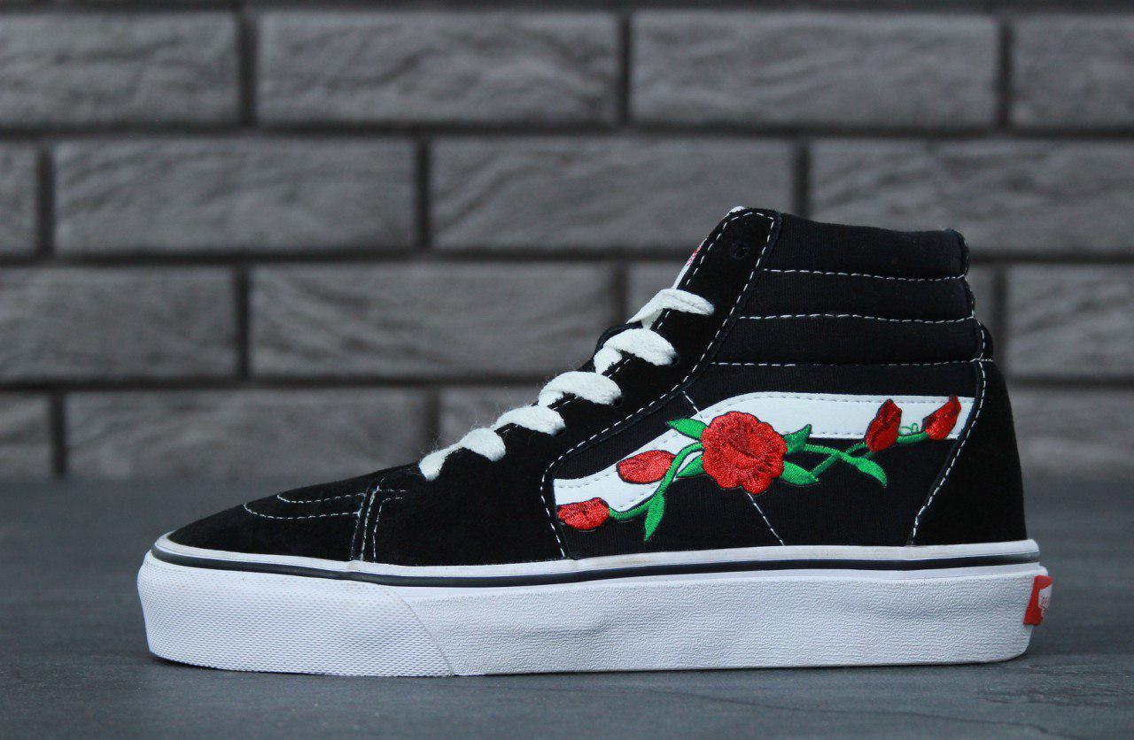 de338aeb10ef Vans Old Skool Sk8-High Top Floral Rose Black White   кеды женские и мужские  ...