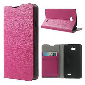 """Чехол книжка для LG L65 D280 / Dual SIM D285 боковой с отсеком для визиток """"фактура дерева"""" Розовый"""