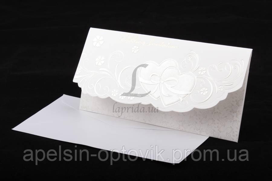 """(Цена за 10шт) Пригласительная открытка """"Wedding"""" на свадьбу, белая, длина 22см, ширина 11см, Пригласительные на свадьбу, Пригласительная открытка - Интернет - магазин """"Апельсин"""" в Одессе"""