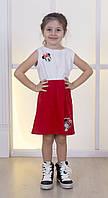 Летнее двухцветное платьице для девочки с принтом Микки Маус