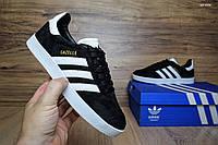 Женские кеды Adidas Gazelle черные с белым Топ Реплика Хорошего качества, фото 1