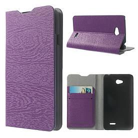 """Чехол книжка для LG L65 D280 / Dual SIM D285 боковой с отсеком для визиток """"фактура дерева"""" Фиолетовый"""