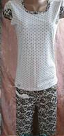 Женская трикотажная пижама футболка с бриджами 42-56 р, женские пижамы оптом от производителя