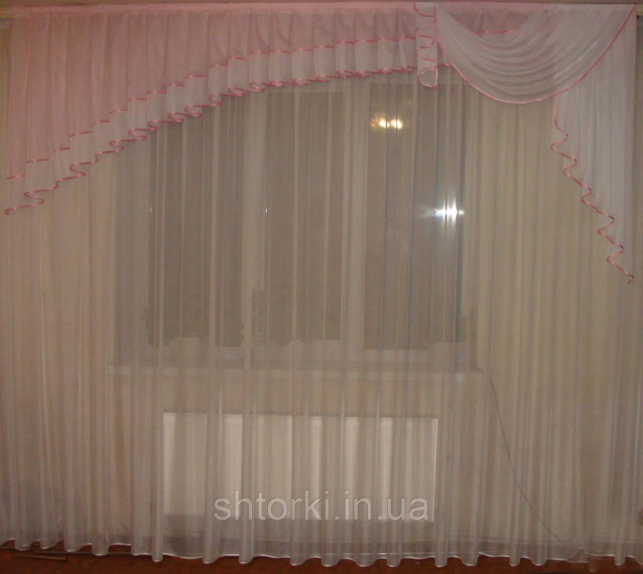 Ламбрикен Ассиметрия 3м нежно розовый Шифон