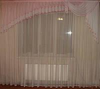 Ламбрикен Ассиметрия 3м нежно розовый Шифон, фото 1
