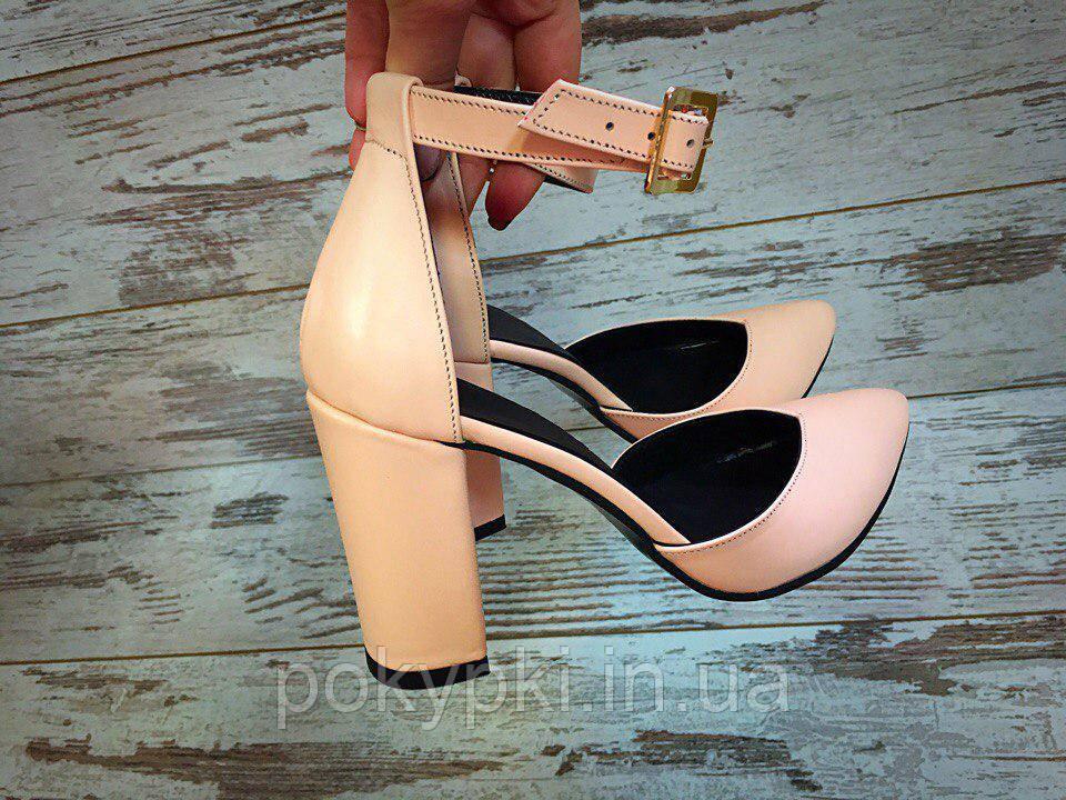 4d327cacc71f Женские кожаные туфли лодочки на высоком толстом каблуке светло-розовые -