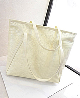 Женская сумка молочного цвета с отделкой кожи под крокодила. Розница, опт в Украине.