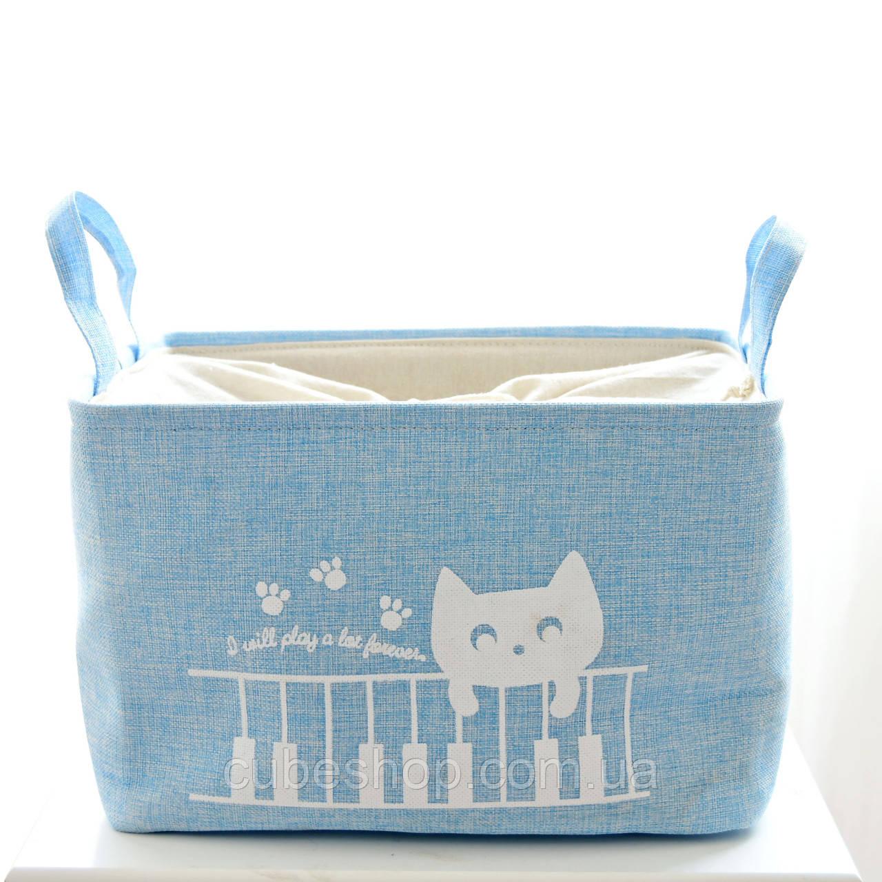 Корзина для белья и игрушек на завязках Cat blue