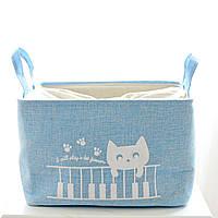 Корзина для белья и игрушек на завязках Cat blue, фото 1