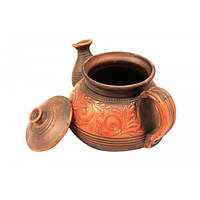 Глиняный чайник разрисованный