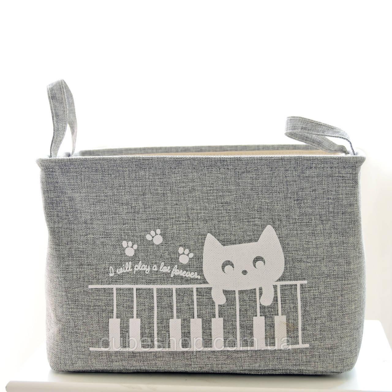 Корзина для белья и игрушек на завязках Cat gray