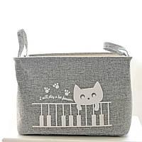 Корзина для белья и игрушек на завязках Cat gray, фото 1
