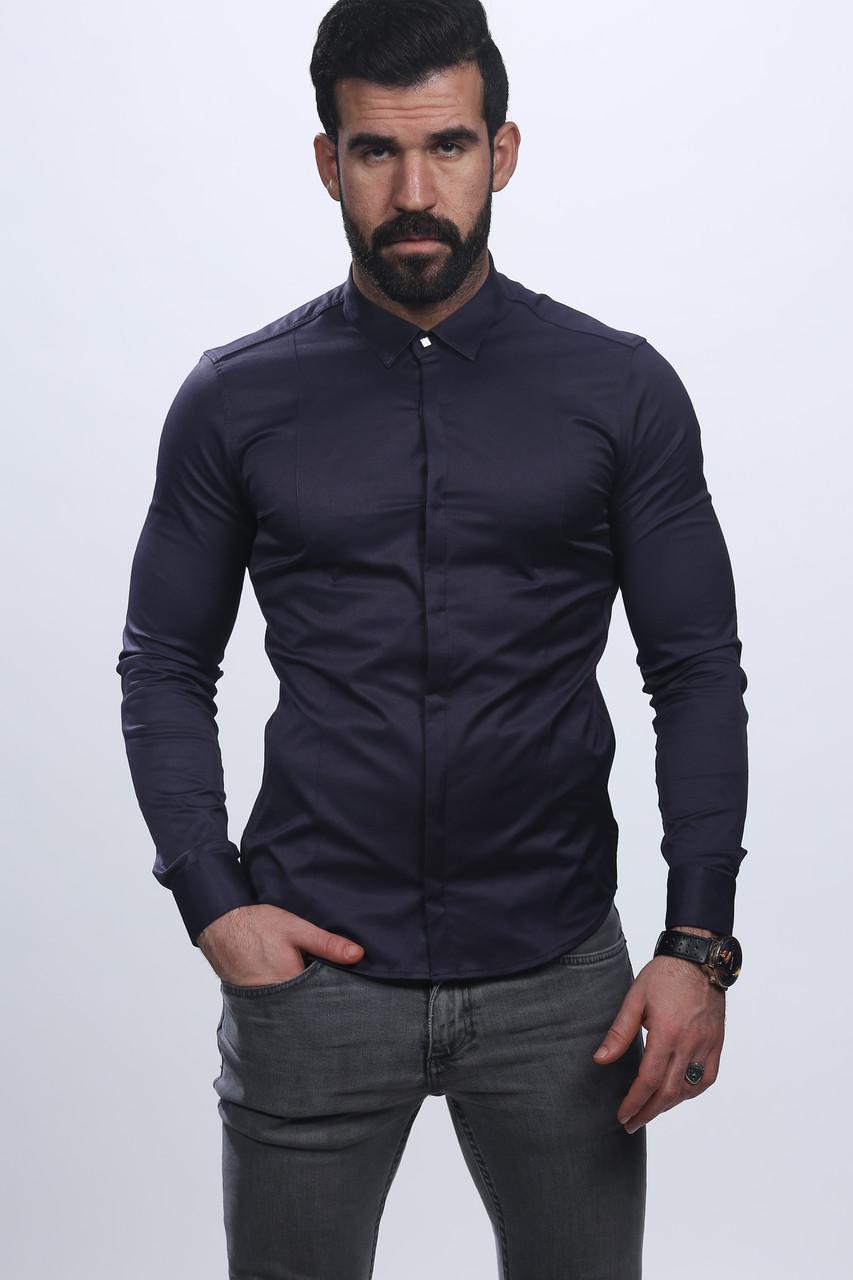 Брендова турецька атласна чоловіча сорочка -чорна a1cf3a8ee3416