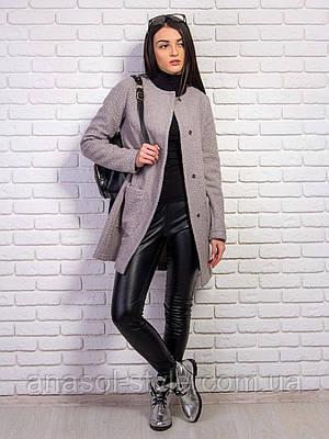 Пальто Вика букле демисезонное серое