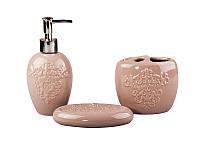 Набор аксессуаров для ванной комнаты Узор, 3 пр(4 цвета)