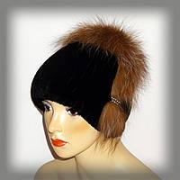 Меховая женская шапка из Rex Rabbit (чёрная с рыжим), фото 1