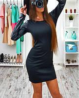 Стильное платье с кожаным рукавом черное, фото 1