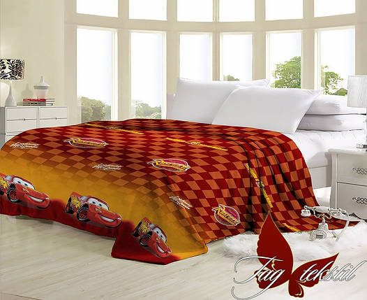 Плед с тачками для детcкой кровати велсофт (микрофибра) 160х220, фото 2