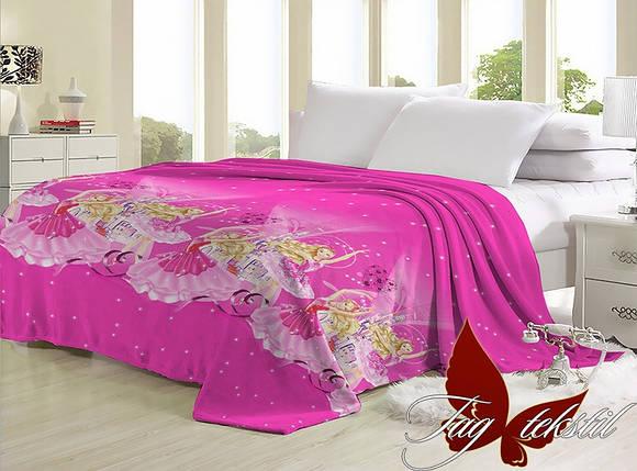 Плед розовый с принцесами для детcкой кровати велсофт (микрофибра) 160х220, фото 2