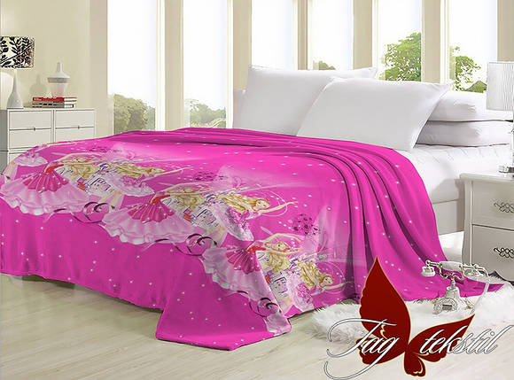 Плед розовый с принцесами для детcкой кровати велсофт (микрофибра) 200х220, фото 2