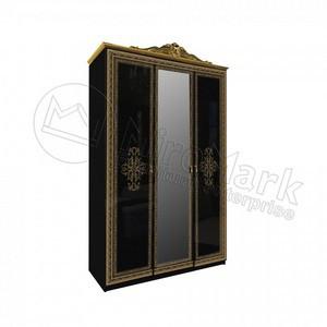 спальня Дженифер шкаф 3Д Black c зеркалами