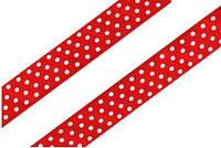 Стрічка атласна червоний в білий горошок 15мм, фото 1