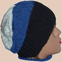 Женская вязаная шапка-носок спортивного силуэта яркой расцветки