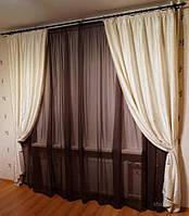 Красивый готовый комплект штор с тюлем в интернете в Украине